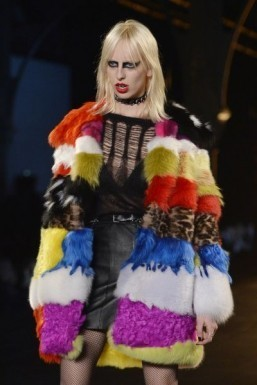 Patchwork from Saint Laurent - Fall-Winter 2015-2016 ready-to-wear collection ©MIGUEL MEDINA / AFP