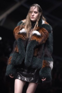Three shades of fur at Just Cavalli - Fall-Winter 2015-2016 ready-to-wear collection ©OLIVIER MORIN / AFP