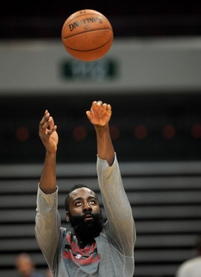 d77ea014243 Houston Rockets player James Harden throws a ball during a media event in  Manila on October