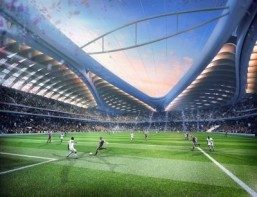 A computer generated image hand out, released by the Organising Committee of Qatar 2022 shows the stadium to be built in Al-Wakrah for the Qatar 2022 World Cup. The al-Wakrah Stadium, that was designed by AECOM and Zaha Hadid Architects, will house 40,000 people and will be used for some 16 matches during the 2022 World Cup. ©AFP PHOTO / Qatar 2022 committee