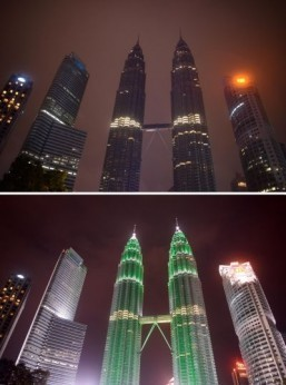 The Petronas Towers in Kuala Lumpur, Malaysia for Earth Hour. ©AFP Photo/Ed Jones