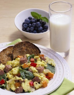 Fat Free Nutrient-Rich Milk Does a Breakfast Plate Good