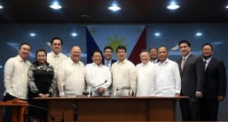 "CA CONFIRMS APPOINTMENTS OF SECRETARIES DOMINGUEZ, CUSI, BELLO AND ANDANAR: Senate President and Commission on Appointments (CA) Chairman Aquilino ""Koko"" Pimentel III (6th from right) joins Presidential Communications Operations Office (PCOO) Secretary Martin Andanar (3rd from left), Department of Labor and Employment (DOLE) Secretary Silvestre Bello III (5th from left), Department of Finance (DOF) Secretary Carlos Dominguez III (5th from right), and Department of Energy (DOE) Secretary Alfonso Cusi (3rd from right), in a photo taken after the CA confirmed their ad interim appointments during Wednesday's plenary session, October 12, 2016. Also in photo are other members of the CA (from left to right), Cavite 7th District Representative Abraham Tolentino, Manila 6th District Representative Rosenda Ann Ocampo, CA Vice Chairman and San Juan Representative Ronaldo Zamora, Senate Minority Leader Ralph Recto, Isabela 1st District Representative Rodolfo Albano III, and Senators Juan Miguel ""Migz"" Zubiri and Joseph Victor ""JV"" Ejercito. (MNS photo)"