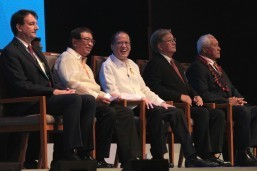 President Benigno S. Aquino III graces the 65th Session of the World Health Organization (WHO) Regional Committee for the Western Pacific at the Reception Hall of the Philippine International Convention Center in Pasay City on Monday (October 13). The Philippines' hosting of the 65th Session is historically significant considering that after a quarter of a century, another Aquino is addressing the regional committee as President of the Philippines. Also in photo are Health Secretary Enrique Ona, 64th Session of the Regional Committee chairperson Dr. Leao Talalelie Tuitama, WHO Regional Office for the Western Pacific regional director Dr. Shin Young-soo and WHO Geneva executive director Dr. Ian Smith. (MNS photo)