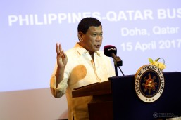 President Rodrigo Roa Duterte shares the history of Philippines and Mindanao at the Philippines-Qatar Business Forum in Doha, Qatar on April 15, 2017. (MNS photo)