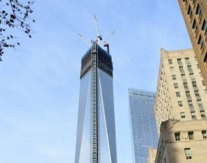 First section of World Trade Center spire raised