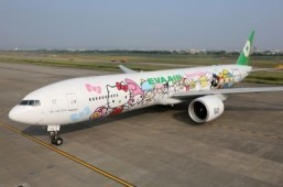 The plane is decorated inside and out with Hello Kitty characters. ©Eva Air Sanrio