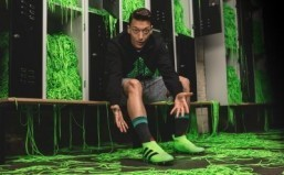 Mesut Ozil models the new Adidas ACE 16+ Purecontrol laceless football boot. ©Adidas