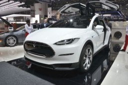Tesla Model X at the Geneva Motor Show 2013 Production of the Model X has been pushed back by another 12 months. ©Newspress