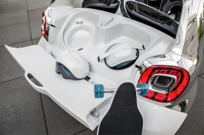 smart fourjoy The car comes complete with skateboards and helmets for getting around town. ©Smart