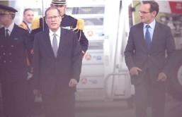 (PARIS, France) President Benigno S. Aquino III arrived here Wednesday morning for a two-day official visit to hold bilateral talks and meetings with leading French businessmen. President Aquino and members of the official delegation arrived at about 10:05 a.m. (4:05 p.m. in Manila) via a chartered flight.