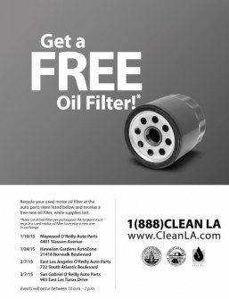 LA County to host used oil and filter recycling event in Hawaiian Gardens