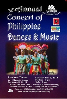 Annual Concert of Philippine Dances and Music held on November 2, 2013  at The Joan B. Kroc Theater, San Diego – Commemorating the Legacy of Samahan's Founder