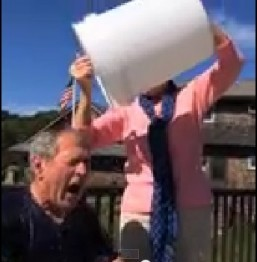 George W. Bush takes ice bucket challenge, dares Bill Clinton