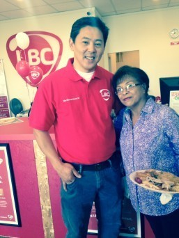 Michael Salomon, VP of Operations for Northern California, poses with one of LBC Carson's loyal customers.