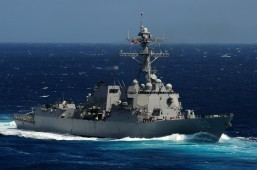 The Arleigh Burke-class guided-missile destroyer USS Kidd (DDG 100) is on its way to the Straits of Malacca to help find the missing Malaysia Airlines flight MH370. The USS Kidd was one of the first responders in the search for Malaysia Airlines Flight MH370 that was lost sometime March 8, 2014. (U.S. Navy photo by Mass Communication Specialist 3rd Class Crishanda K. McCall/Released)