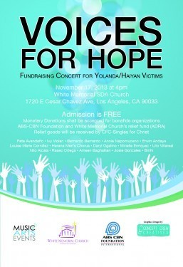 VOICES FOR HOPE Fundraising Concert for Yolanda/Haiyan Victims to be held on Nov 17 Sunday