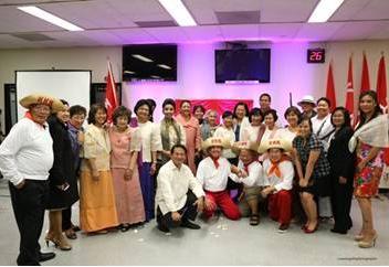 Consul General De La Vega and Deputy Consul General Espiritu with participants of the re-enactment of the 150th Birth Anniversary of Andres Bonifacio.