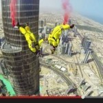 Daredevils BASE jump off world's tallest building in record-breaking stunt