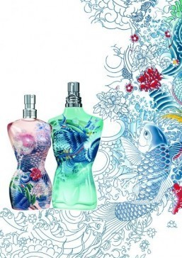 Jean Paul Gaultier summer fragrance bottles inspired by Asian tattoo art