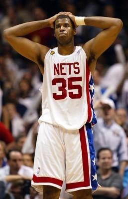 Photo dated June 13, 2003 shows then New Jersey Nets player Jason Collins reacting to a foul call during game 5 of the NBA Finals against the San Antonio Spurs in East Rutherford, New Jersey. Collins became the first active player in a major professional American team sport to reveal that he is gay, doing so to Sports Illustrated in a major cover story released on April 29, 2013. Collins, who is now a free agent, has played in the NBA for 12 seasons with six teams, spending this past campaign with the Boston Celtics and Washington Wizards. He helped the New Jersey Nets reach the 2002 and 2003 NBA Finals. AFP PHOTO/FILES/Don EMMERT