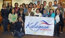 Seated center are Joveno 'Bing' De La Vega, president of Kalayaan Inc., Consul General Maria Hellen Barber De La Vega, and Deputy Consul  General Imelda M. Panolong, with 'Friends' who are hosting the farewell party for Congen Hellen.