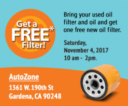 Free Oil Filter & Motor Oil Recycling Event!