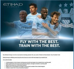 Etihad Airways passengers can register to win a chance to train with the Manchester City players. ©All Rights Reserved