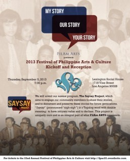 FilAm ARTS' newest initiative, The Saysay Project, to be featured at FPAC