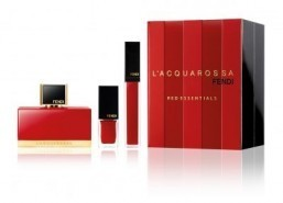 L'Acquarossa Red Essentials by Fendi Perfect for Valentine's Day, the Italian brand's Red Essentials gift set honors the color of passion. The red and black box contains the brand's latest women's fragrance, L'Acquarossa, along with a red lip gloss and a matching nail polish. Price: €115 (around $160) ©Fendi