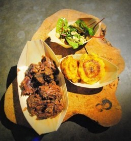 "Braised beef cheeks with plantain chips and salad for ""Life of Pi"" ©Chantal Hintze"