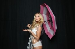 Victoria's Secret models do a rain dance