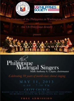 The Philippine Madrigal Singers on May 11, 2013, 6:00 PM in Washington, DC
