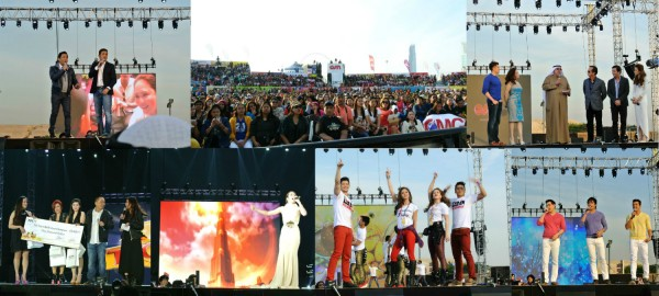 (Clockwise from top left): Martin Nievera and Gary Valenciano sang of giving back and lending a helping hand as part of the TFC Kapamilya spirit; Crowd estimates of 16,000-18,000 trooped to Dubai Festival City to watch the show; OSN Chairman and KIPCO Vice Chairman Faisal Al Ayyar, ABS-CBN Corporation Chairman Gabby Lopez and ABS-CBN Global COO Raffy Lopez announced the exclusive partnership between ABS-CBN TFC and OSN in the region as hosts Luis Manzano, Kris Aquino and Toni Gonzaga looked on; Leftmost, Ana Blaza of UAE held her check after winning TFCKat ME; Angeline Quinto typified the world-class performances that pervaded the back-to-back shows; Rayver Cruz, Kim Chiu, Maja Salvador and Enchong Dee perform one of the high octane dance numbers; Richard Yap, Piolo Pascual and Jericho Rosales had the crowd swooning as they serenaded with love songs.