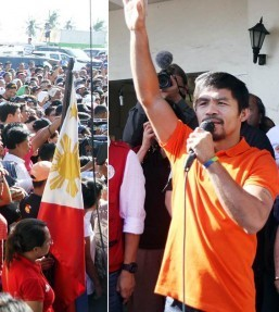 "Peoples champ and Sarangani Representative Emmanuel ""Manny"" Pacquiao shouts ""Tindog Taclobanon!"" (Rise up Tacloban!) during the flag ceremony at the Tacloban City hall on Monday (December 2, 2013). He gave an inspirational message before distributing relief goods at the Tacloban City Convention Center. (MNS photo)"