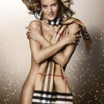 Rosie Huntington-Whiteley wears just a scarf in Burberry Festive Campaign