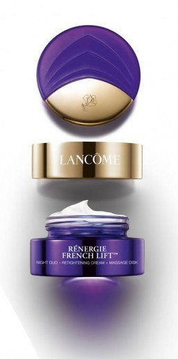 "Lancôme's skincare experts introduce ""Rénergie French Lift,"" a retightening cream that comes with a patented massage disk. ©Lancôme"