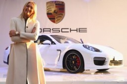 The Porsche Panamera GTS by Maria Sharapova has a chic white body accented with black 20-inch wheels. ©Porsche