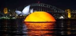 The sun rises out of the Sydney Harbour for an outdoor production of Madame Butterfly. ©James Morgan