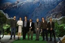 "Cast members of ""The Hobbit: The Desolation of Smaug"" on the New Zealand pop-up book: Aidan Turner, Evangeline Lily, Richard Armitage, Peter Jackson, Martin Freeman, Luke Evans, Dean O'Gorman ©All rights reserved - Tourism New Zealand"
