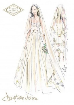 Angelina Jolie weds in Versace – see the sketch