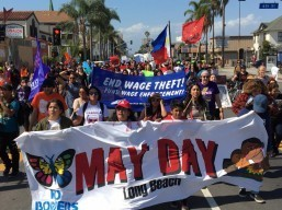 Filipinos march against wage theft in Long Beach on May Day