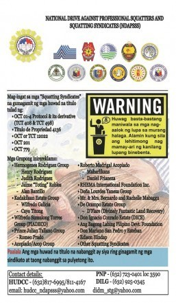 Warning from the Philippine Government regarding Fake Land Titles